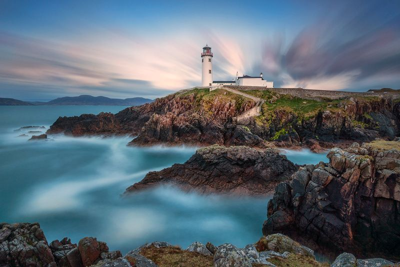 ireland, lighthouse, fanad, head, donegal, sunset, atlantic, cliffs, ocean Fanad Head Lighthousephoto preview