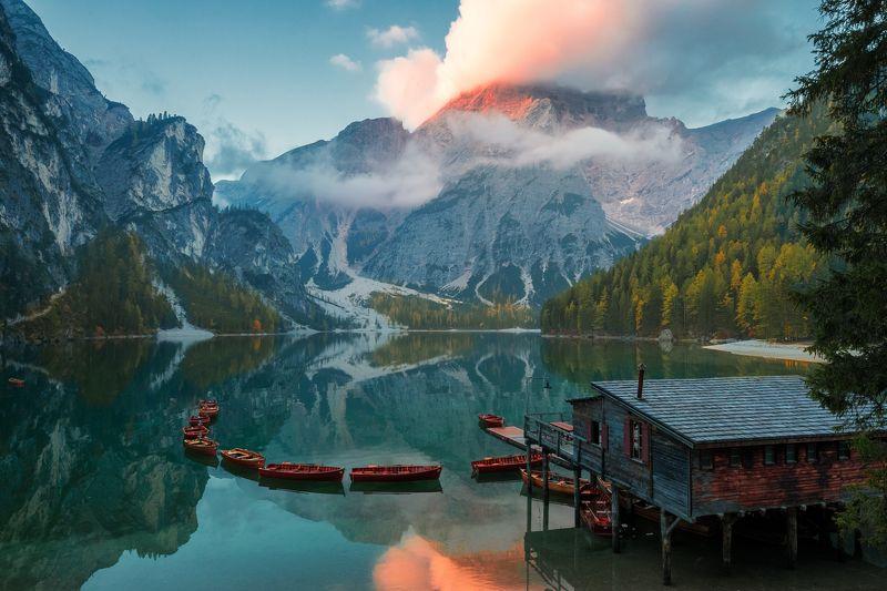италия, доломиты, озеро, отражение, рассвет, осень, брайес Lago di Braisesphoto preview