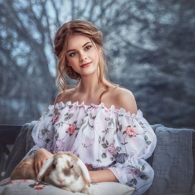 девушка, портрет, кролик, утро, деревня, весна, винтаж, осень, girl, mood, portreit, rabbit, village, vintage, spring, autumn photo preview