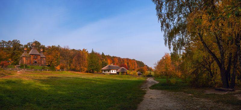 село, музей, пирогово, осень, октябрь, вечер Осень в деревнеphoto preview