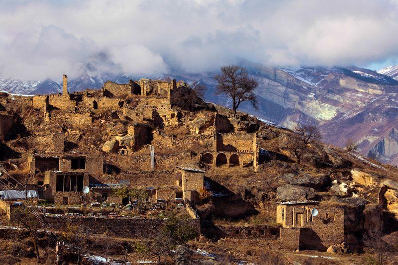 горы,аул,снег,осень,природа,дагестан. Горный аул..photo preview