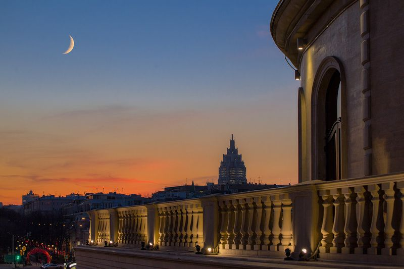 москва, вечер Над городомphoto preview