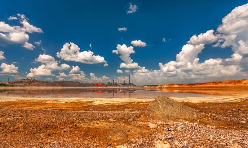 skrylov,skrylov_official, карабаш, челябинская область, россия, пейзаж, лето. кислота, карабашмедь, облака. небо, вода, пруд, оранжевый ***photo preview