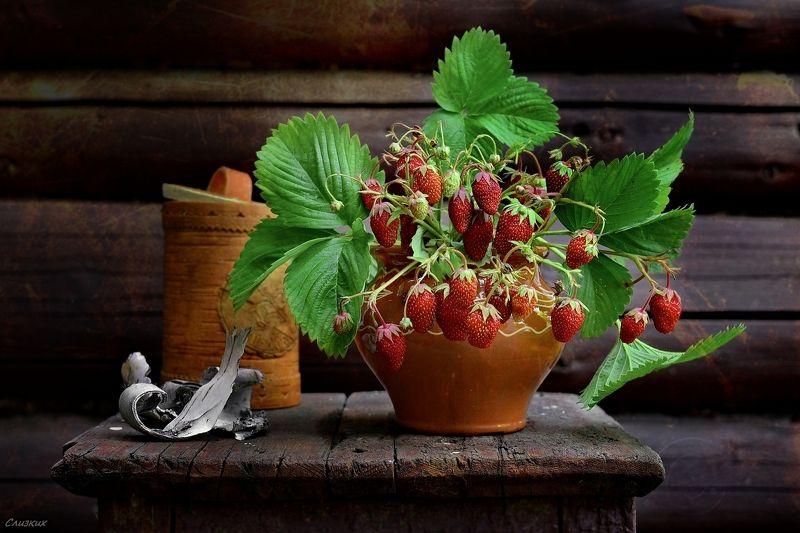 натюрморт,ягода,туесок,клубника,букет,табурет,стена,бревно,лето Вариации с клубникойphoto preview
