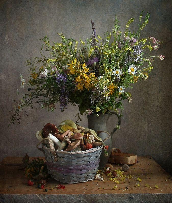 натюрморт, марина филатова, цветы, букет цветов, лето, грибы Отблески летаphoto preview