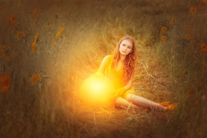 девушка, портрет, сказка, солнце, подсолнухи, лето, girl, portreit, sun, summer, sunflower, fairytale photo preview