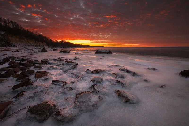закат, зима, небо, пейзаж Пожар на небесахphoto preview