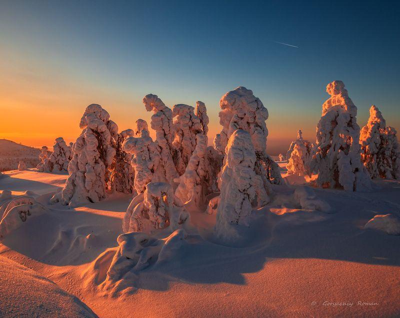 север, кольский, заполярье, кандалакша,гора волостная Зимний вечер.photo preview