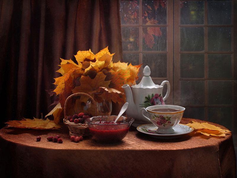 натюрморт, осень, чай, фарфор, листья, настроение Я оттаиваю...photo preview