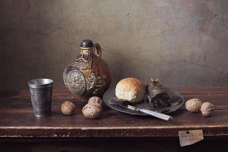 ужин, колбаса, вино, хлеб, натюрморт, орехи, беллармина Ужин с колбасой. Вариацииphoto preview