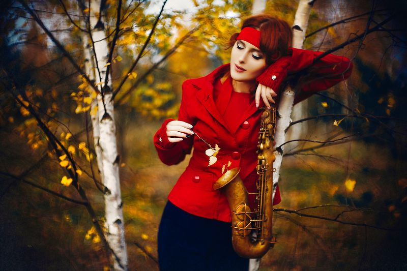 woman, art, portrait, fashion, beauty, natural light, autumn, colors Every leaf speaks bliss to me, fluttering from the autumn treephoto preview