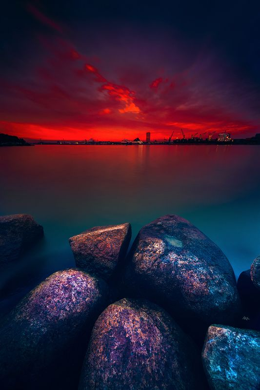 landscape, sunset, colors, long exposure. klaipeda, port The City on Firephoto preview