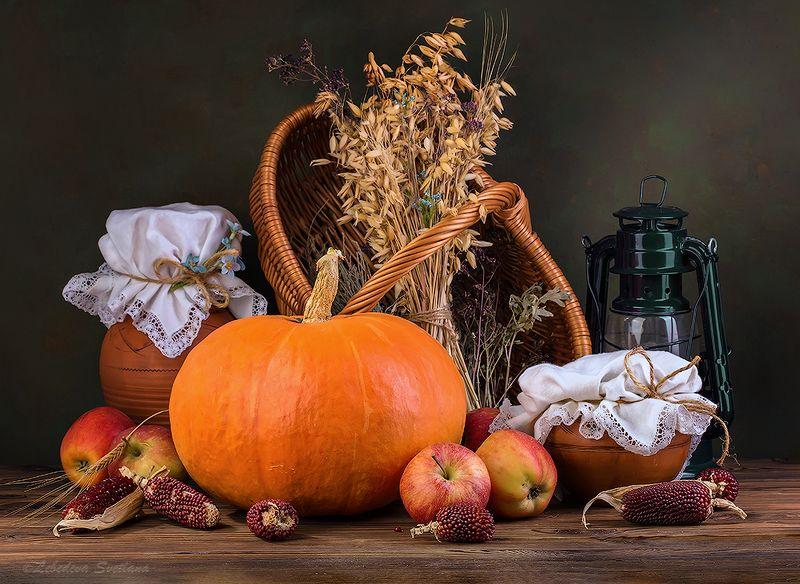 тыква,яблоки,фрукты.овощи,натюрморт Осенний натюрморт с тыквойphoto preview