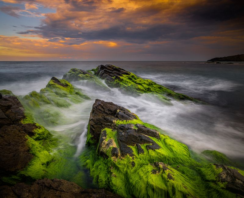 landscape nature seascape rocks castal coast beach sea seaside storm cliff long exposure scenery  sunset cloudy bulgaria Facing the stormphoto preview