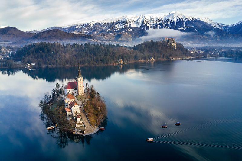 блед, словения, озеро, квадрокоптер Январское утро на озере Бледphoto preview
