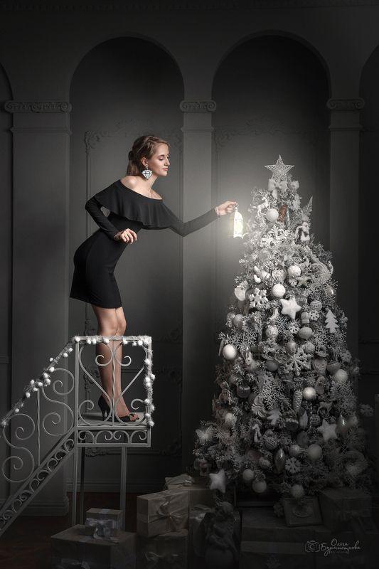 фото в студии, новый год, новогодние фонарики, белая елка, стилизация, в стиле фэшн Скоро Новый годphoto preview