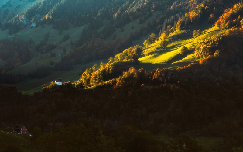 landscape,church,Церкав,sunlight,свет,пейзаж,swiss,autumn Церкавphoto preview