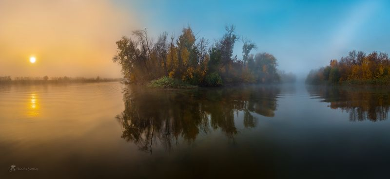 pentax645z, pentax, астраханская область, река, рассвет, туман, радуга, отражение, вода, волга, заповедник, астраханский государственный биосферный заповедник, осень, лес, деревья, берег, остров, небо, ясно, солнце, Туманный рассвет на рекеphoto preview