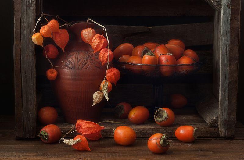 натюрморт,хурма,осень,физалис оранжевое настроение...photo preview