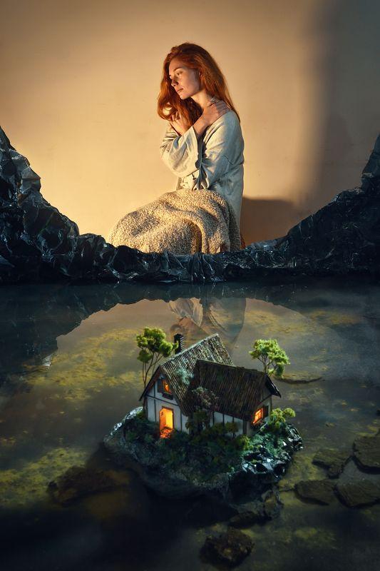 фотография,постановочная,дом,пейзаж,диорама,девушка,рыжая,смысл,мечты,надежда,свет,уют,тепло,парышков,d810 Надежда в мечтахphoto preview