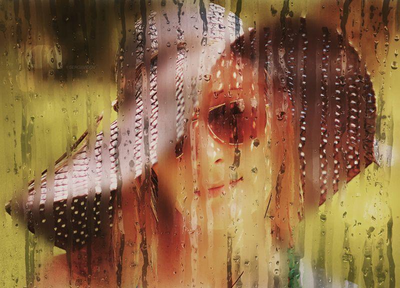 девушка, лето, портрет, блондинка, дождь, стекло Незнакомкаphoto preview