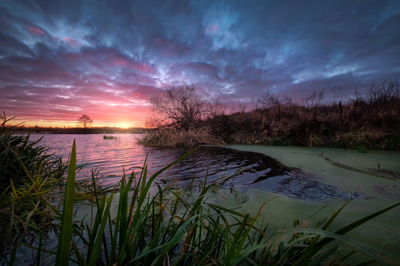 дубна, река, ноябрь, холод, утро, рассвет, облачность, солнце, восход, вода, свет Ноябрьское утроphoto preview