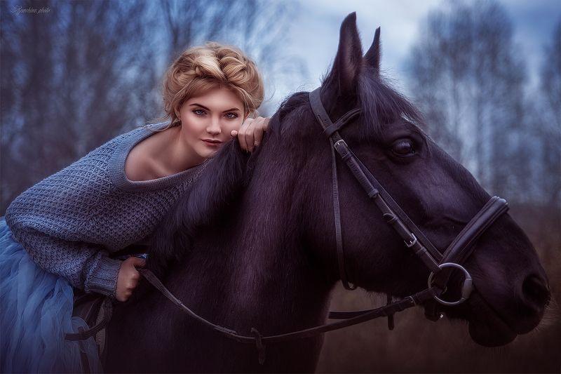 девушка, портрет, лошадь, фиолетовый, girl, portreit, horse, purple photo preview