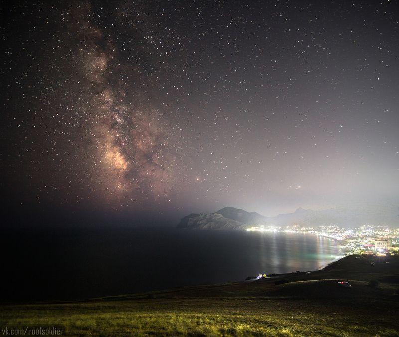 Ночь, звезды, млечный путь, небо, Крым, Коктебель, астрофото, выдержка Коктебельphoto preview