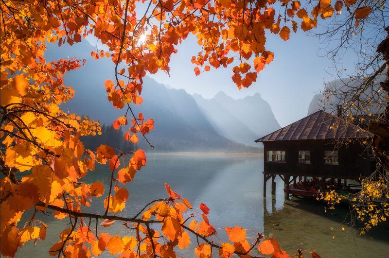 dolomites, italy, autumn Lago Di Dobbiacophoto preview