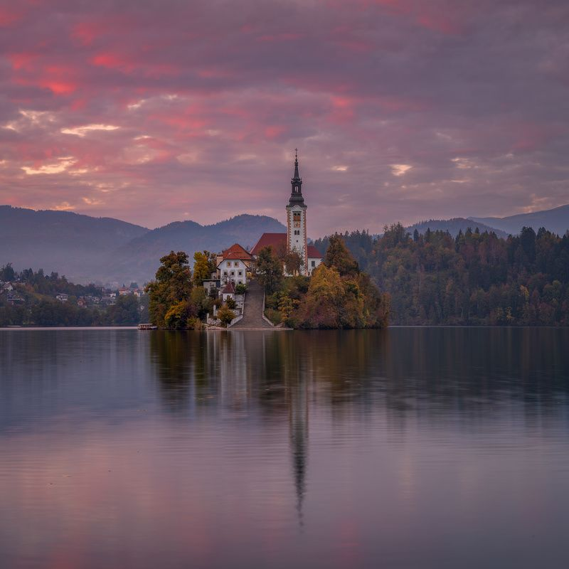 slovenia, словения, блед, bled, autumn, осень Sunset in Bled.photo preview