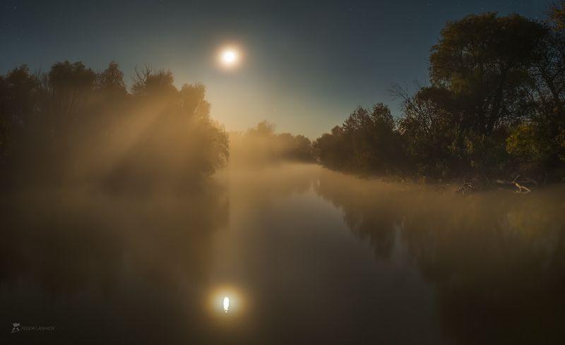 pentax645z, pentax, астраханская область, ночь, полнолунье, луна, лучи, туман, деревья, магия, свет, река, волга, дельта, отражение, заповедник, астраханский государственный биосферный заповедник, Сонная река, яркая лунаphoto preview