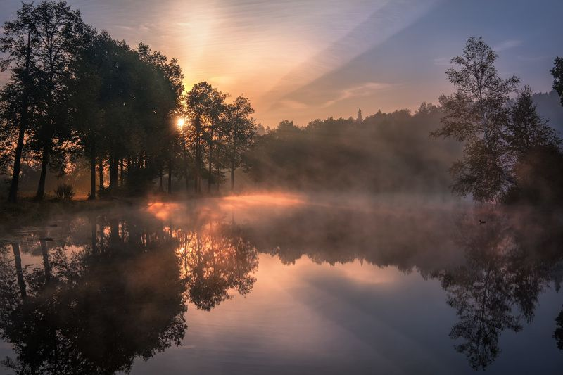 середниково, пруд, барский, туман, утро, рассвет, осень, лес, цвета, солнце, бабье лето, свет Барский прудphoto preview