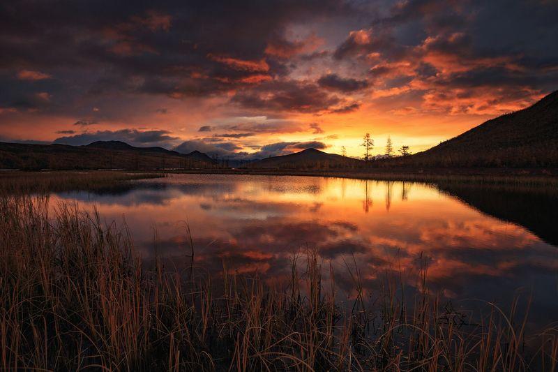 2018, россия, колыма, утро, краски, осень, горы, лиственницы, тучи, деревья, отражение, трава, рассвет, небо, озеро Рассвет на Джекеphoto preview