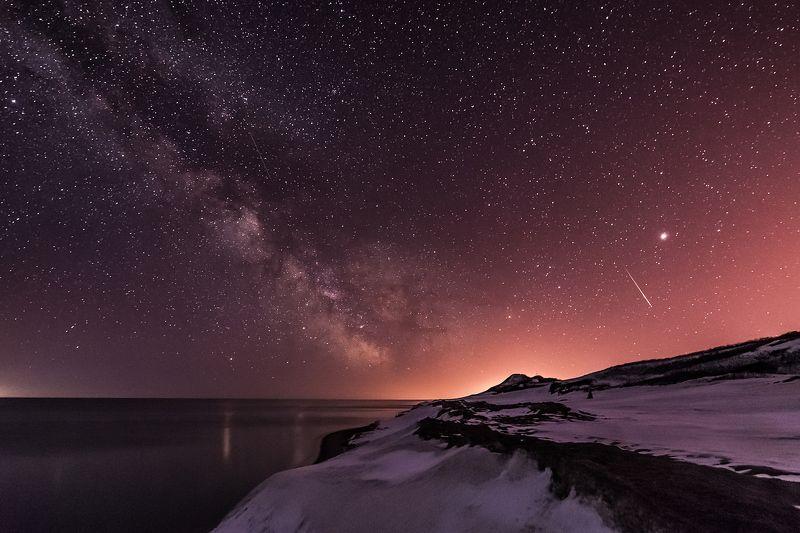сахалин, ночь, зима, млечный путь На берегу далекого Сахалинаphoto preview