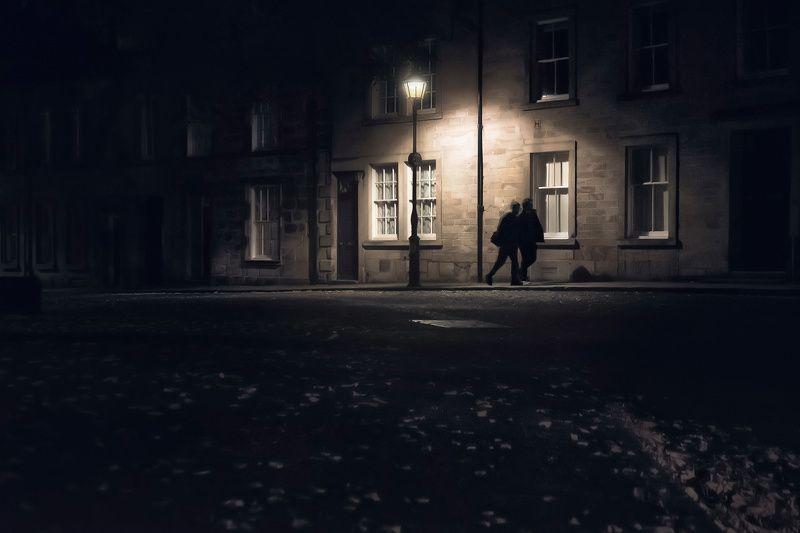город, улица, фонарь, силуэт, англия, ночь, осень Под ореолом фонаряphoto preview