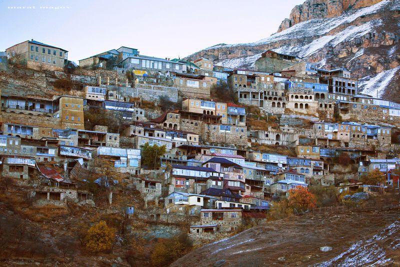 горы,аул,осень,природа.дагестан Аул \