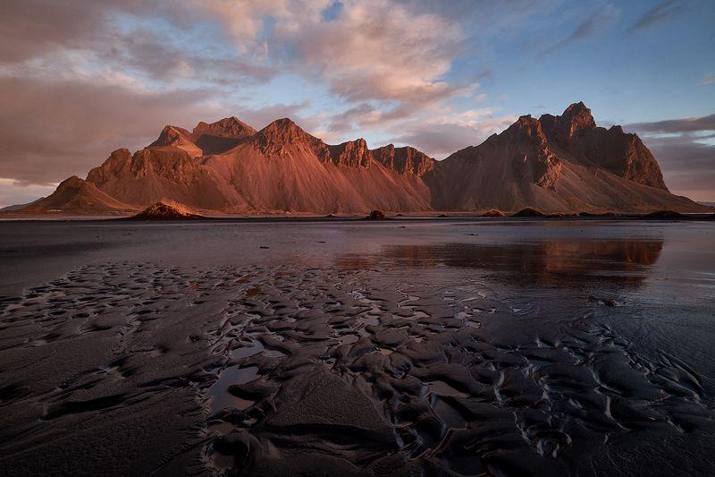 iceberg,iceland,sunset,ice,lake,clouds,mountains, vestrahorn, stoksness Mo3 фото превью
