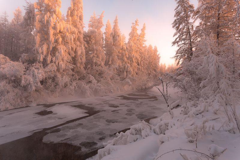 зима, холод, речка, снег, лед, якутия, ойиякон, полюс холода, природа, путешествия Рождественское утро фото превью