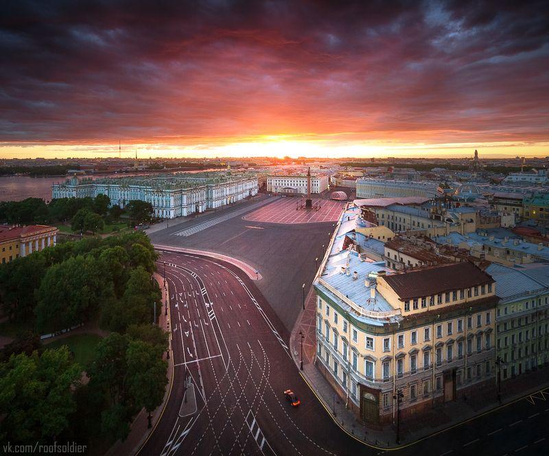 Санкт-Петербург, рассвет, закат, крыша, город, пейзаж, архитектура, Питер Дворцовая площадьphoto preview