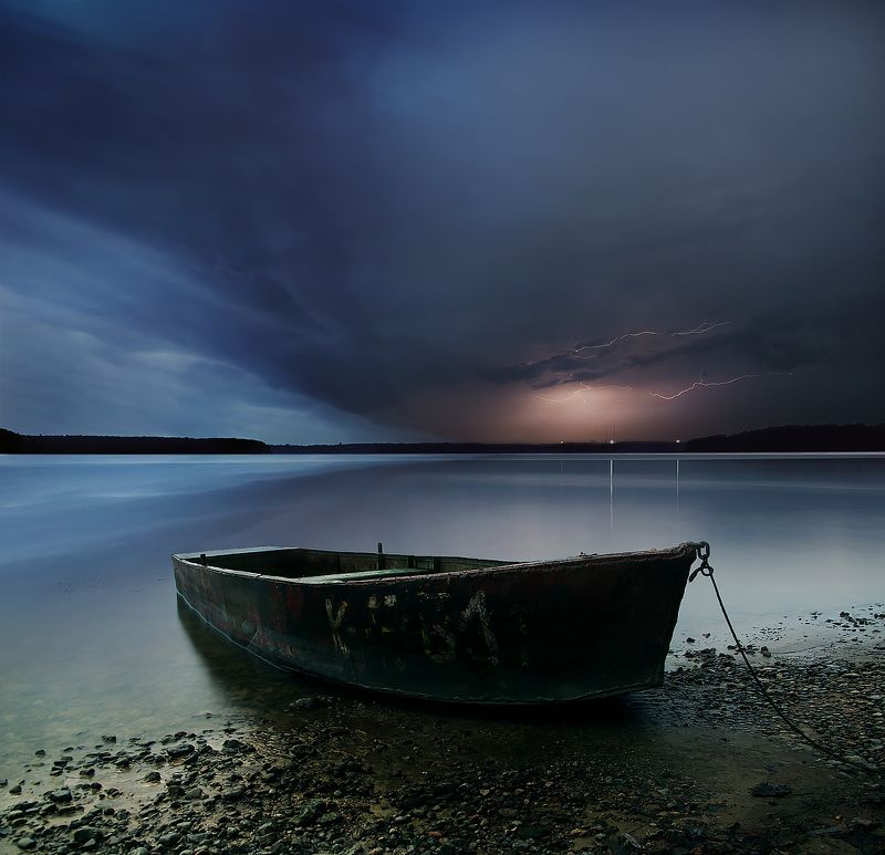 Lithuania, long exposure, boat, water, lightning, clouds, storm, sky, evening, lights, horizont *photo preview