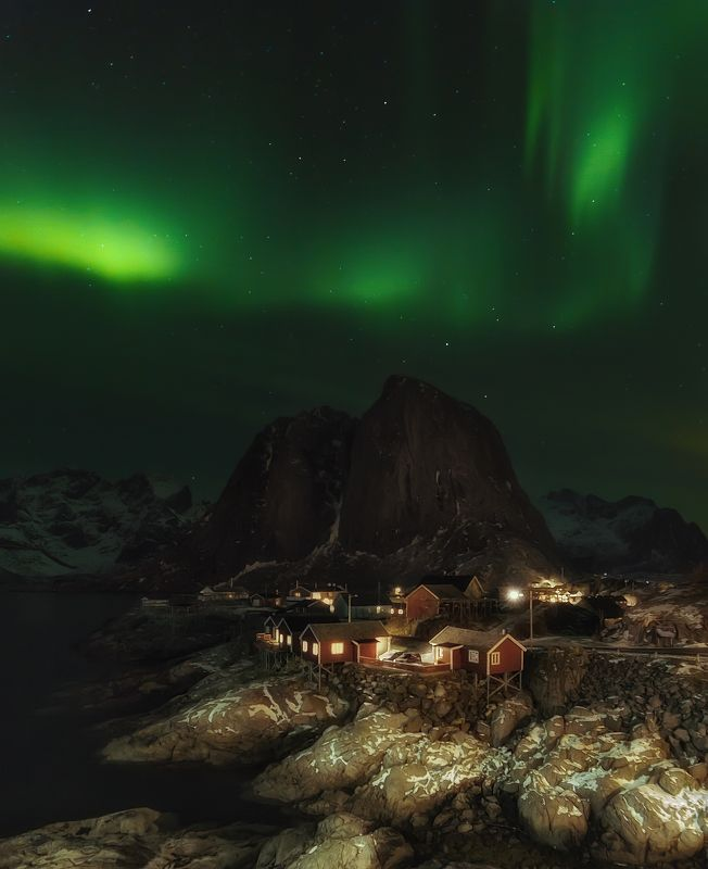 night, landscape, norway, auroaborealis, photo preview