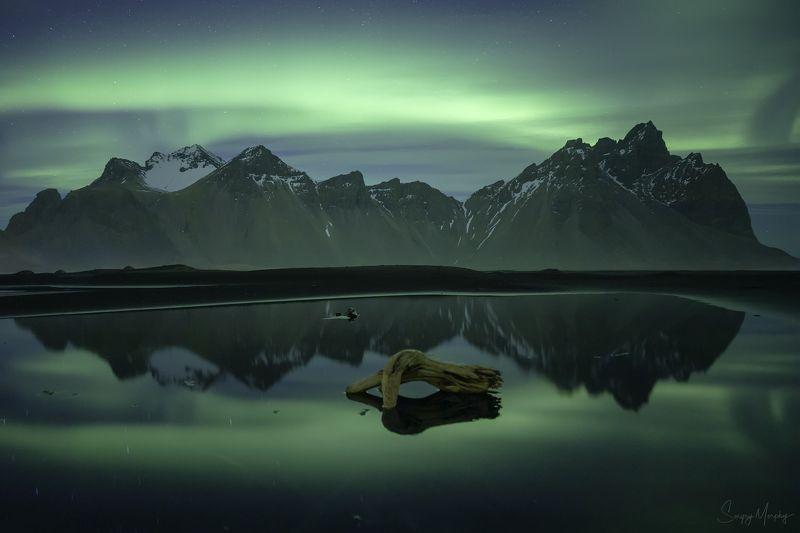 green, silence., vestrahorn., iceland. Green silence. Vestrahorn. Iceland.photo preview