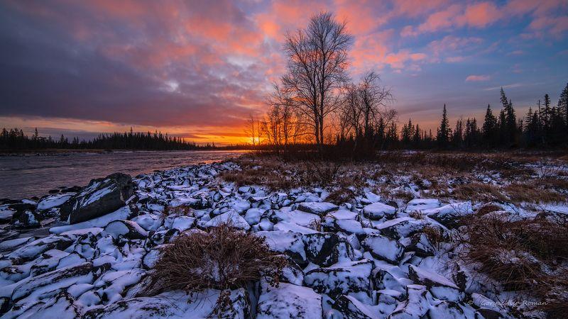 кольский, север,заполярье, умба, река, Дневной закат.photo preview