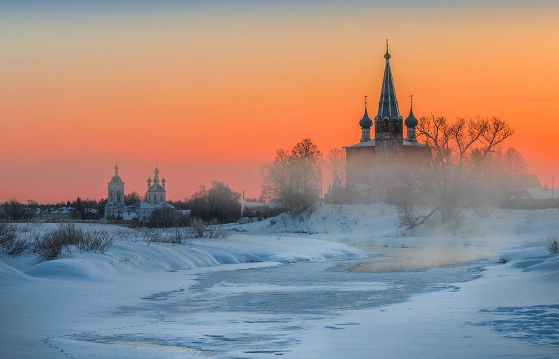 утро, рассвет, природа, туман, река,дунилово В морозном туманеphoto preview