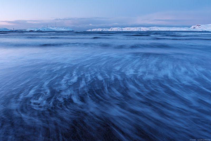 баренцево море,териберка,вечер,сумерки,волны,зима,крайний север,заполярный круг,пейзаж,россия,берег,длинная выдержка Ветер волнphoto preview