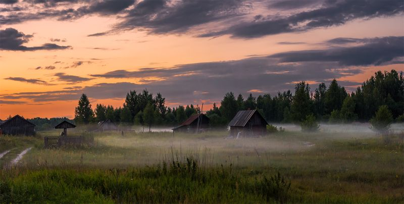 природа, пейзаж, лето, вечер, туман, панорама, закат, деревня Вечерний туманphoto preview