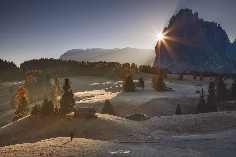 Shooting sunrise in Alpe di Siusiphoto preview