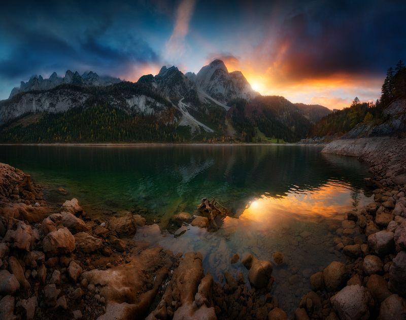 вечер, горы, закат, озеро, вода, солнце, альпы Закат на озере Гасауphoto preview