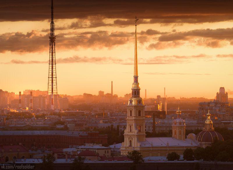 Петербург, Питер, Санкт-Петербург, архитектура, рассвет, крыша, шпиль, церковь, город Петропавловскаяphoto preview