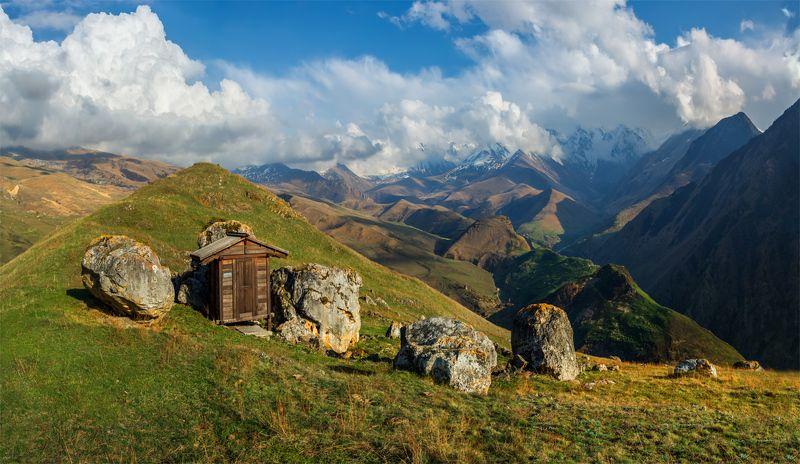 природа, пейзаж, кавказ, горы, весна, вечер, панорама, закат, солнце, небо, облака, свет ---photo preview